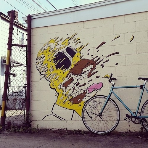 Homer Simpson Mural head explodes in Matt Gondek's