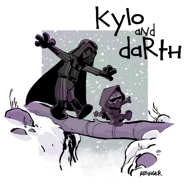 Star Wars Characters Drawn in Style of Calvin and Hobbes