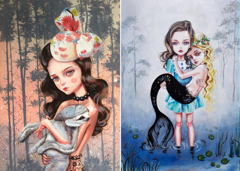 Beautiful illustrations of girls that mix the weird and wonderful