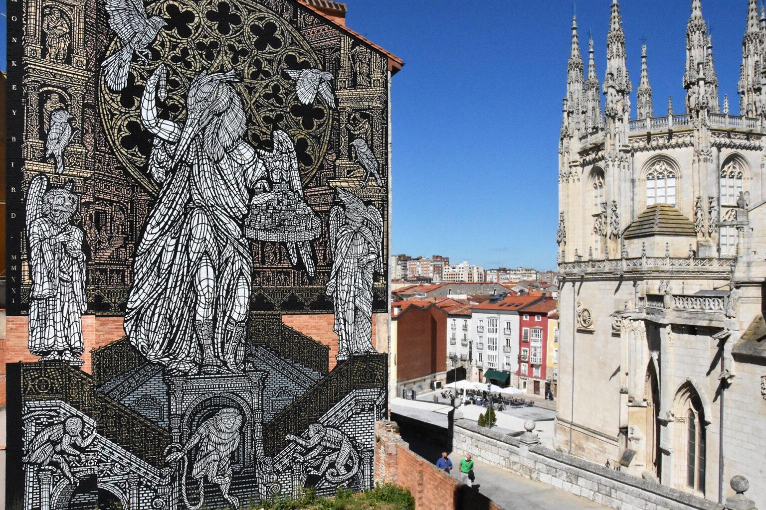 Monumental wall by MONKEYBIRD in Burgos, Spain